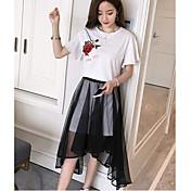 Mujer Moderno Noche Verano T-Shirt Falda Trajes,Escote Redondo Un Color Manga Corta
