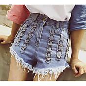 Mujer Sexy Alta cintura Microelástico Shorts Pantalones,Delgado Un Color