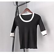 Mujer Regular Pullover Casual/Diario Simple,Un Color Escote Redondo Manga 3/4 Algodón Otro Primavera Grueso Elástico