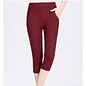 Mujer Sencillo Tiro Medio strenchy Shorts Pantalones,Corte Recto Un Color