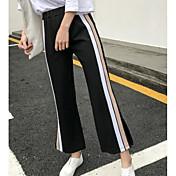 Mujer Sencillo Tiro Medio Microelástico Perneras anchas Pantalones,Holgado Bloques