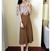 Mujer Simple Noche Casual/Diario Verano Blusa Pantalón Trajes,Escote Barco Un Color Floral Manga Corta