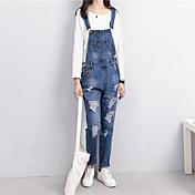 レディース ストリートファッション ミッドライズ ルーズ ジーンズ オーバーオール パンツ 引き裂かれました ゼブラプリント