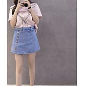 Mujer Casual Diario Casual Verano T-Shirt Falda Trajes,Escote Redondo A Rayas Bloques Vaqueros Manga Corta Microelástico
