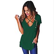 Dámské Jednobarevné Jdeme ven Běžné/Denní Sexy Jednoduché Tričko-Léto Polyester Kulatý Krátký rukáv Střední
