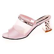 Mujer Sandalias Confort PU Verano Casual Paseo Confort Tacón Bajo Blanco Rosa 2'5 - 4'5 cms
