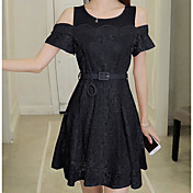 Mujer Línea A Vestido Casual/Diario Un Color Escote Redondo Sobre la rodilla Manga Corta Encaje Verano Tiro Alto Rígido Fino