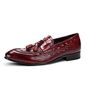 Hombre Zapatos Cuero Primavera Verano Zapatos formales Zapatos de boda Para Boda Fiesta y Noche Negro Borgoña