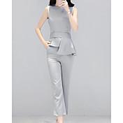 Mujer Simple Casual Verano Blazer Pantalón Trajes,Escote Redondo Un Color Sin Mangas Inelástica