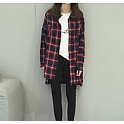 レディース 日常 シャツ,シンプル シャツカラー 格子柄 コットン 長袖