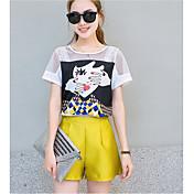 Mujer Dulce Noche Casual/Diario Trabajo Primavera T-Shirt Pantalón Trajes,Escote Redondo Estampado Manga Corta Inelástica