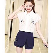 Mujer Simple Casual/Diario Verano Camisas Pantalón Trajes,Cuello Camisero Floral Manga Corta Microelástico