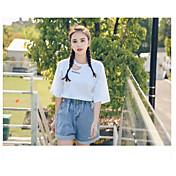 Mujer Sencillo Alta cintura Microelástico Vaqueros Shorts Pantalones,Perneras anchas Un Color