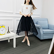 Mujer Empapa Diario Verano T-Shirt Falda Trajes,Escote Redondo Un Color Manga Corta