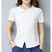 Mujer Simple Casual/Diario Camisa,Escote en Pico Un Color Manga Corta Lino Otro