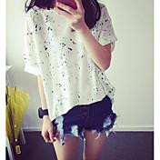 Mujer Simple Casual/Diario Camiseta,Escote Redondo A Lunares Manga Corta Algodón