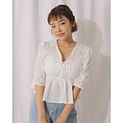 Mujer Simple Casual/Diario Camisa,Escote en Pico Un Color Manga 3/4 Algodón