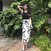 Mujer Sencillo Adorable chinoiserie Colegio Noche Casual/Diario Midi Faldas,Corte Bodycon Jacquard Verano Otoño Estampado