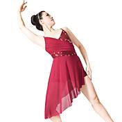 バレエ ワンピース 女性用 子供用 演出 スパンデックス ポリエステル スパンコール ライクラ ドレープ プリーツ スパンコール 2個 ノースリーブ ナチュラルウエスト ドレス ヘッドピース