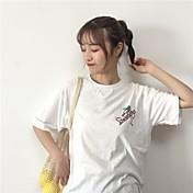 Mujer Activo Casual/Diario Verano Camiseta,Escote Redondo Un Color Estampado Letra Manga Corta Algodón Fino