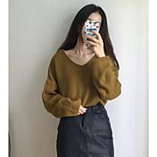 Mujer Regular Pullover Casual/Diario Un Color Escote en Pico Manga Larga Acrílico Primavera Fino Microelástico