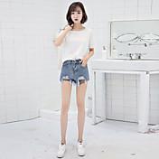 Mujer Sencillo Tiro Medio Microelástico Chinos Shorts Pantalones,Corte Recto Un Color