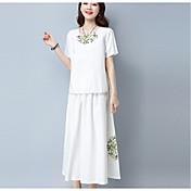 Mujer Tejido Oriental Casual/Diario Verano T-Shirt Falda Trajes,Escote Redondo Un Color Patrón Manga Corta