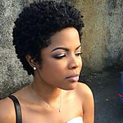 Mujer Pelo humano pelucas sin tapa Negro Corto Rizado