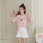 Mujer Simple Casual/Diario Camiseta,Escote Redondo Un Color Estampado Letra Manga Corta Algodón