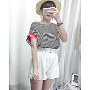 Mujer Simple Casual/Diario Verano Camiseta,Escote Redondo A Rayas Manga Corta Algodón Medio