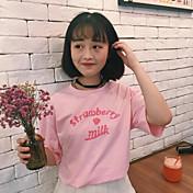 Mujer Bonito Casual/Diario Camiseta,Escote Redondo Estampado Letra Media Manga Algodón