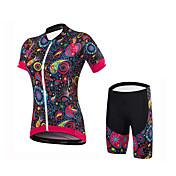 Maillot de Ciclismo con Shorts Mujer Manga Corta Bicicleta Shorts/Malla corta Camiseta/Maillot Pantalones Cortos Acolchados Prendas de