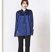 Mujer Vintage Noche Camisa,Cuello Camisero Un Color Estampado Manga Larga Algodón Otro