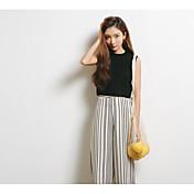 Mujer Simple Casual/Diario Camiseta,Escote Redondo Un Color Sin Mangas Algodón