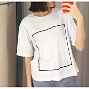 Mujer Simple Noche Verano Camiseta,Escote Redondo Un Color Manga Corta Algodón Fino