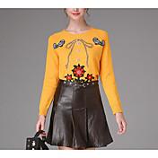 Mujer Simple Noche Primavera Otoño T-Shirt Falda Trajes,Escote Redondo Estampado Manga Larga