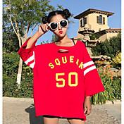 Mujer Simple Noche Casual/Diario Verano Camiseta,Escote Redondo Un Color Bloques Manga Corta Algodón Fino