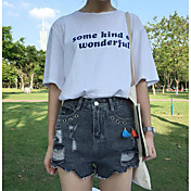 Mujer Sencillo Tiro Alto Microelástico Chinos Shorts Pantalones,Delgado Un Color