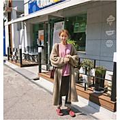 Mujer Largo Cardigan Noche Casual/Diario Simple,Un Color Escote en Pico Manga Larga Lino Otoño Invierno Grueso Microelástico