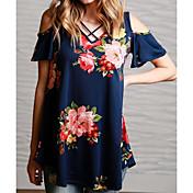 Mujer Chic de Calle Noche Casual/Diario Verano Camiseta,Escote en Pico Floral Manga Corta Algodón Medio