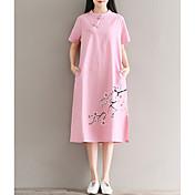 Mujer Corte Ancho Vestido Casual/Diario Floral Escote Chino Midi Manga Corta Lino Verano Tiro Alto Microelástico Medio