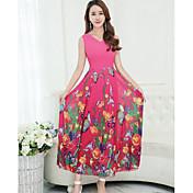 Mujer Corte Swing Vestido Casual/Diario Floral Escote en Pico Maxi Sin Mangas Poliéster Verano Tiro Alto Rígido Medio