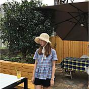 Mujer Simple Noche Camisa,Escote Redondo A Cuadros Manga Corta Algodón