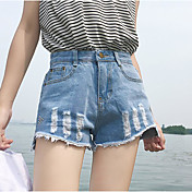 Mujer Sencillo Tiro Medio Microelástico Vaqueros Shorts Pantalones,Corte Ancho Un Color