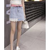 Mujer Vacaciones Sobre la Rodilla Faldas,Línea A Verano Un Color