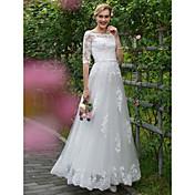 Corte en A Princesa Hasta el Suelo Encaje Tul Vestido de novia con Apliques Fajas / Cintas por LAN TING BRIDE®