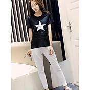 Mujer Simple Casual/Diario Verano T-Shirt Pantalón Trajes,Escote Redondo Diseño Geométrico Manga Corta
