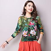 Mujer Tejido Oriental Casual/Diario Camiseta,Escote Redondo Floral Estampado Manga Larga Algodón Lino