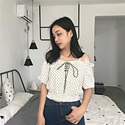 Mujer Simple Casual/Diario Camiseta,Escote Barco A Lunares Media Manga Algodón