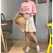 Mujer Bonito Casual/Diario Camiseta,Escote Redondo Letra Manga Corta Algodón